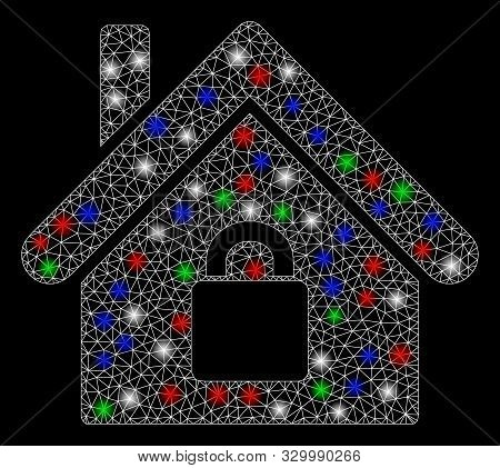 Bright mesh locked apartment with glow effect. White wire carcass triangular network in vector format on a black background. Abstract 2d mesh designed with triangular lines, points, stock photo