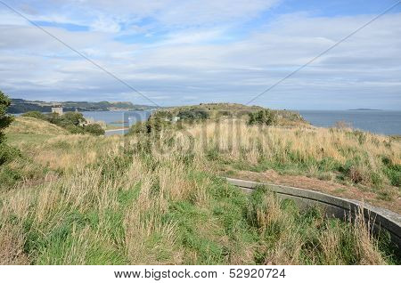A view over the island of Inchcolm in the river Forth stock photo