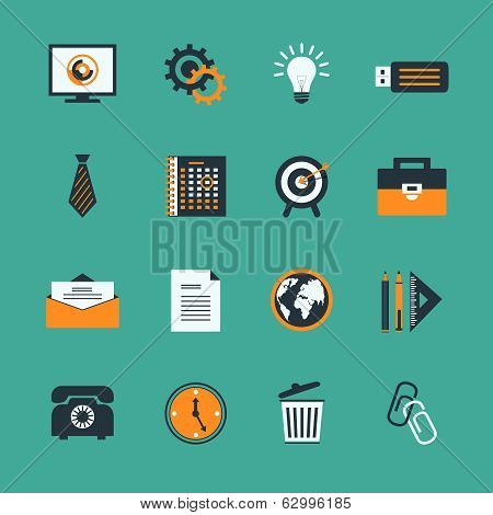 Business office stationery icons set of creative lightbulb phone and target isolated vector illustration stock photo