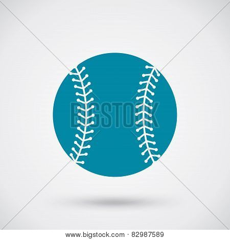 Baseball Ball Sign Icon Sport Symbol Blue Flat Round Button With