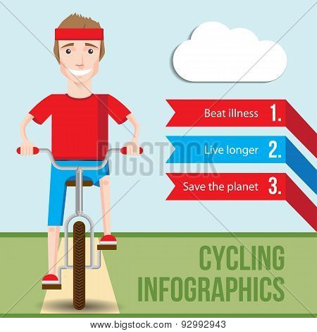 Bicycle infographics concept with front view of smiling hipster man riding on a bike. Vector fiat illustration. Health Benefits of Cycling. Health lifestyle stock photo
