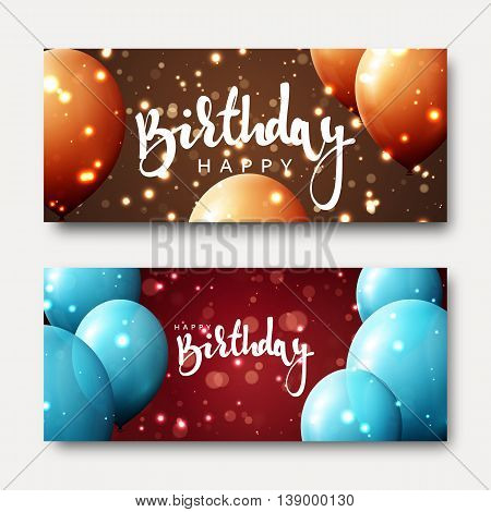 Happy birthday calligraphic inscription with balloons and light effects. Greeting card with realistic balls and bokeh. Festive banner template design for birthday. Bright card for child\'s birthday