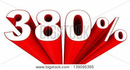 Discount 380 percent off sale. 3D illustration. stock photo