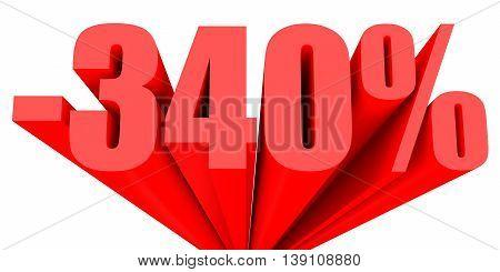 Discount 340 percent off sale. 3D illustration. stock photo