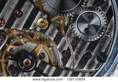 Watch mechanism of old pocket watch, closeup stock photo