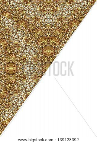 White background with decorated oragnic borders in golden tones. stock photo