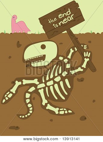A scared Brachiosaurus looks at a sign held by a skeleton of a dinosaur that reads,