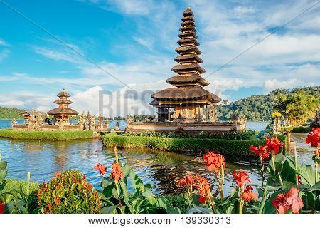 Pura Ulun Danu Bratan, Hindu temple surrounded by flowers on Bratan lake is a major Shivaite and water temple in Bali, Indonesia