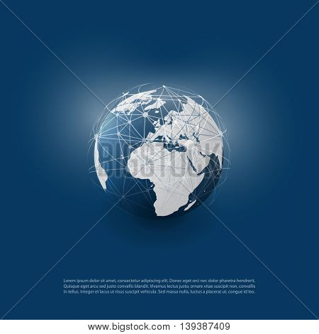 Cloud Computing and Networks with Globe - Abstract Global Digital Network Connections, Technology Concept Background, Creative Design Element Template with  Wire Mesh Around Earth stock photo