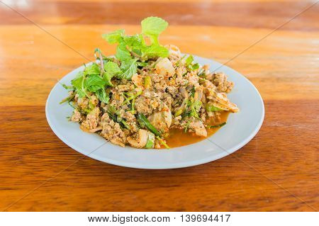 Larb duck mince with spicy taste Thai food stock photo
