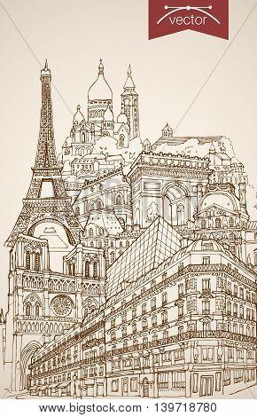 Engraving vintage hand drawn vector Paris, France travel. Pencil Sketch Eiffel Tower, Notre Dame de Paris, Arc de Triomphe sightseeing illustration. stock photo