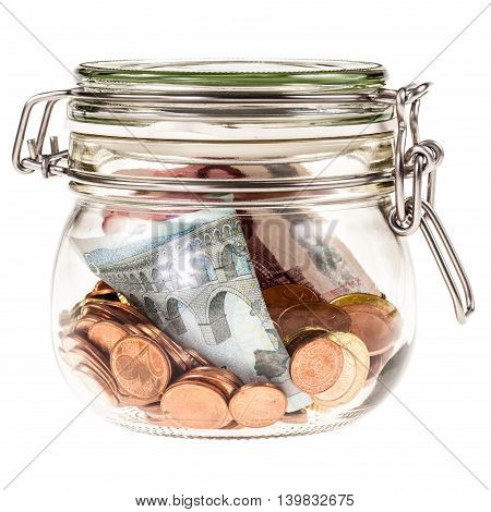 a transparent glass jar filled with euro money isolated over a white background stock photo
