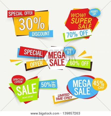 Set of creative Sale Tags, Banners, Stickers, Label, Different Discount Offers, Vector Promotional design collection. stock photo