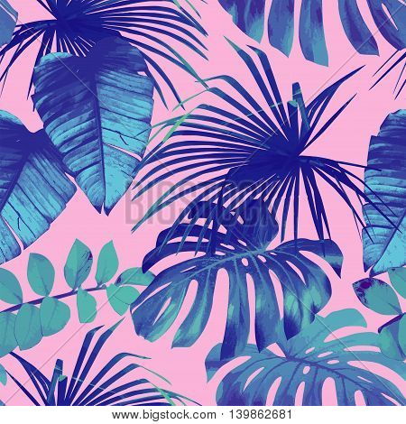 Summer exotic floral tropical palm banana leaves in blue style. Pattern vector seamless on the pink background. Plant flower nature wallpaper