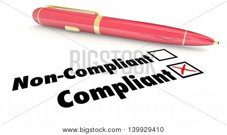 Compliant Check Box Pen Mark Non Compliance 3d Illustration stock photo