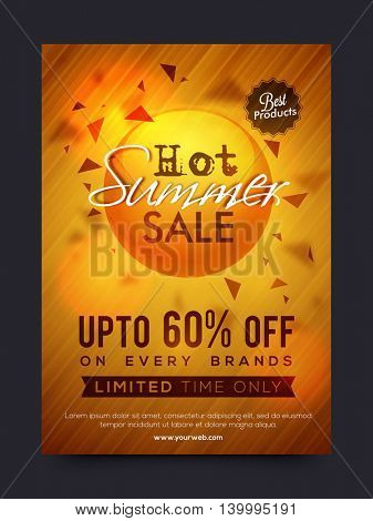 Hot Summer Sale and Discounts, Summer Sale Poster, Sale Banner, Sale Flyer, Limited Time Sale, Upto 60% Off on every brands, Best Products Sale, Shiny Sale Background,  stock photo