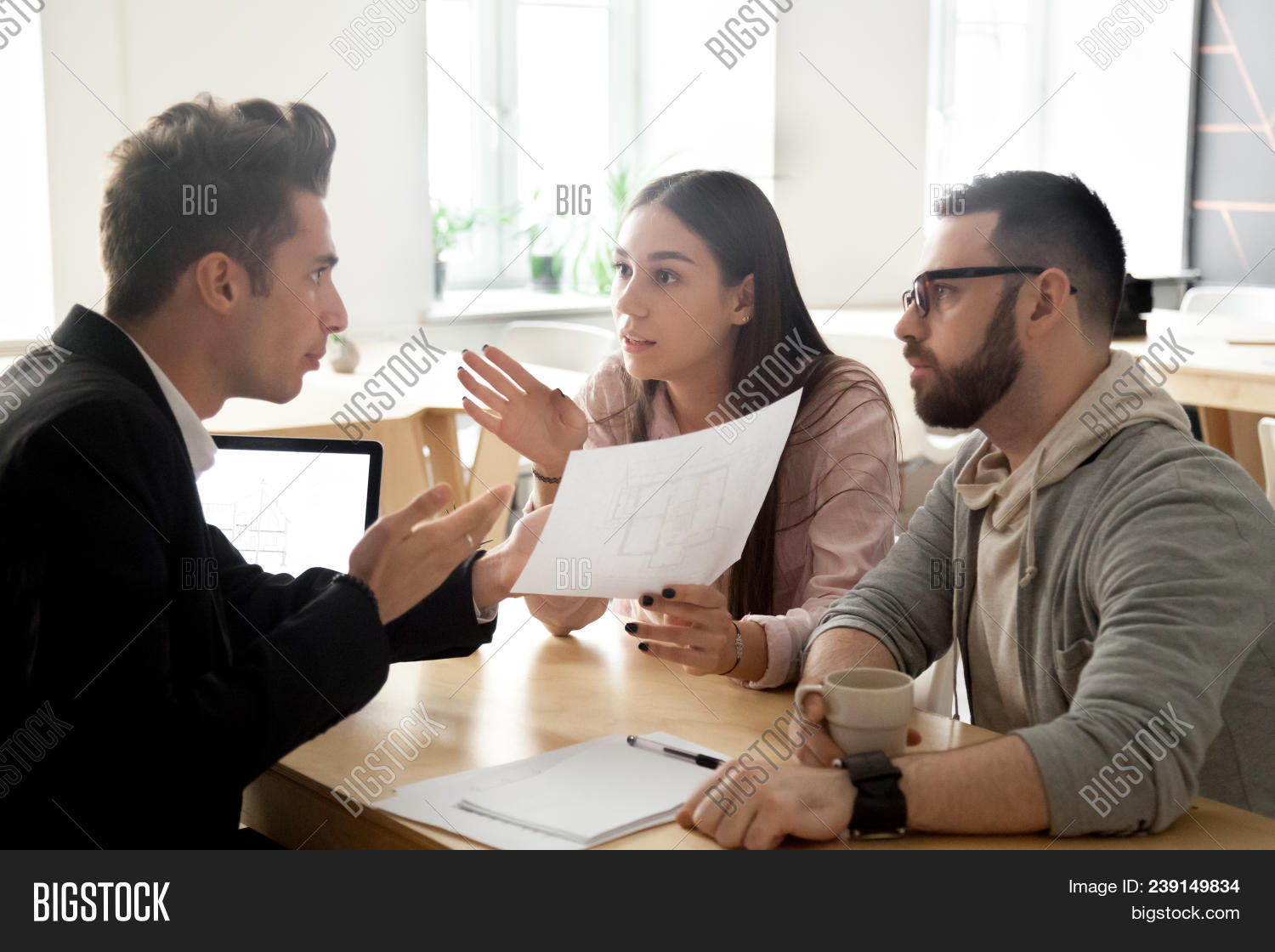 Angry Deceived Couple Customers Disputing About Mortgage Loan Or Real Estate Problem With Realtor, L