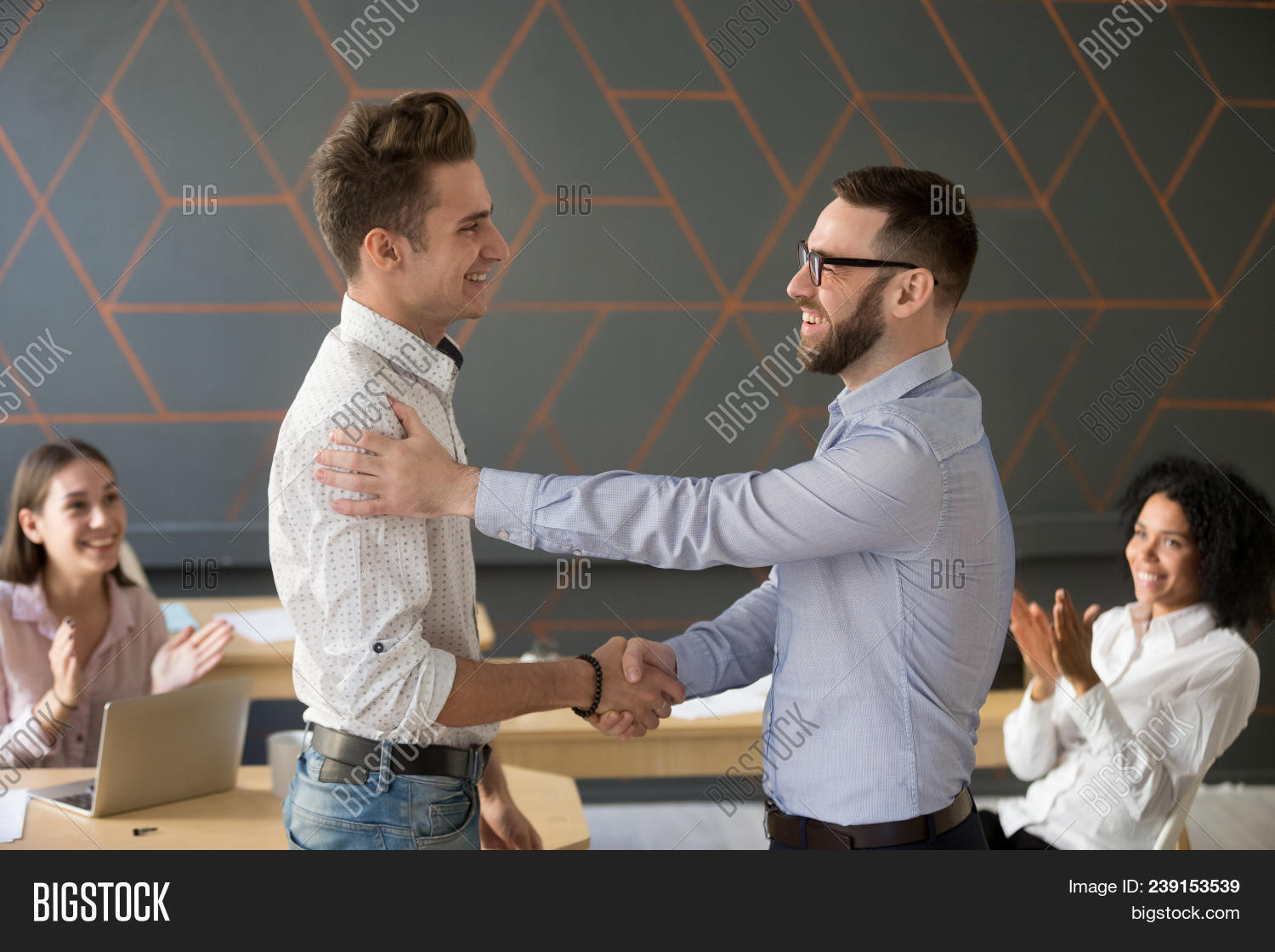 Team Leader Handshaking Employee Congratulating With Professional Achievement Or Career Promotion, T