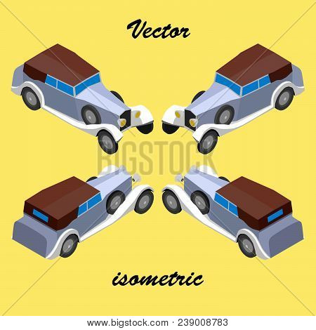 An antique prestigious car of the 30s, depicts in isometric view. stock photo