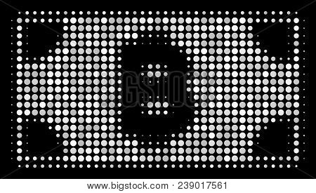 Bitcoin cash banknote halftone vector icon. Illustration style is dotted iconic bitcoin cash banknote symbol on a black background. Halftone structure is constructed of spheric pixels. stock photo