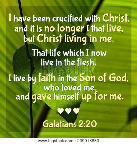I have been crucified with Christ, and it is no longer I that live, but Christ living in me. That life which I now live in the flesh, I live by faith in the Son of God, who loved me, and gave himself up for me. Galatians 2:20 stock photo