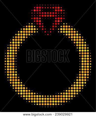 Ruby ring halftone vector icon. Illustration style is pixel iconic ruby ring symbol on a black background. Halftone matrix is constructed from round blots. stock photo