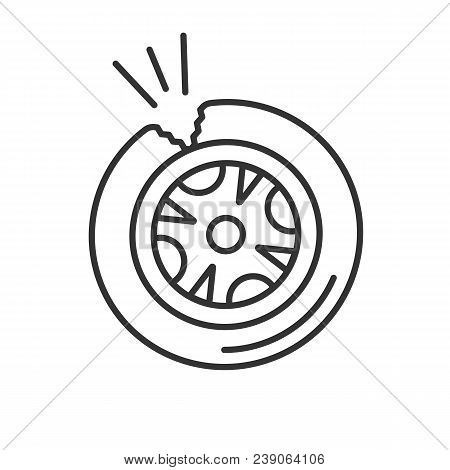 Punctured Tire Linear Icon Thin Line Illustration Contour