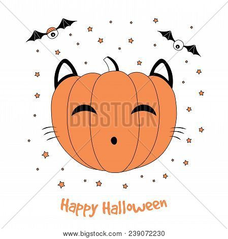 Hand drawn vector illustration of a funny cartoon pumpkin with cat ears and whiskers, with eyes on bat wings, with text Happy Halloween. Isolated objects on white background. Design concept for kids. stock photo