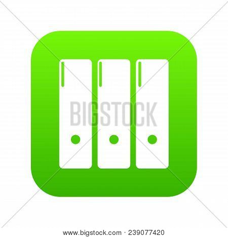 Office folder icon green vector isolated on white background stock photo