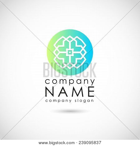 Vector design elements for your building company logo, abstract round blue and green icon . Modern logotype, business corporate element stock photo