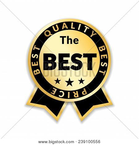 Ribbon award best price label. Gold ribbon award icon isolated white background. Best quality golden label for badge, medal, best choice, price, certificate guarantee product Vector illustration stock photo