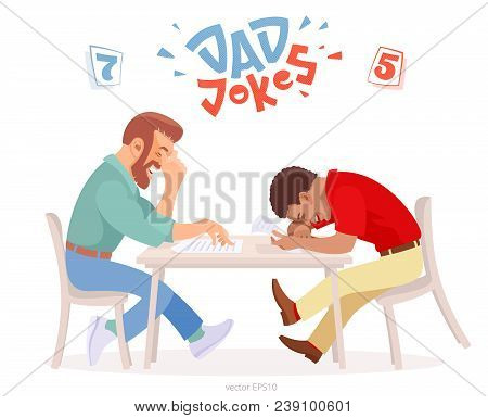 Dad jokes battle. Two adult men at the table tries to make each other laugh. Bearded white male hides his chortle under a facepalm, black man almost dies of laughter. Original logo of funny challenge. stock photo