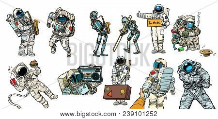 Set collection astronauts and robots. homeless traveler musician hitchhiker customer fast food. Comic book cartoon pop art retro vector illustration vintage kitsch stock photo