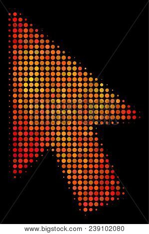 Dot mouse cursor icon. Bright pictogram in orange color tinges on a black background. Vector halftone mosaic of mouse cursor pictogram organized with spheric items. stock photo