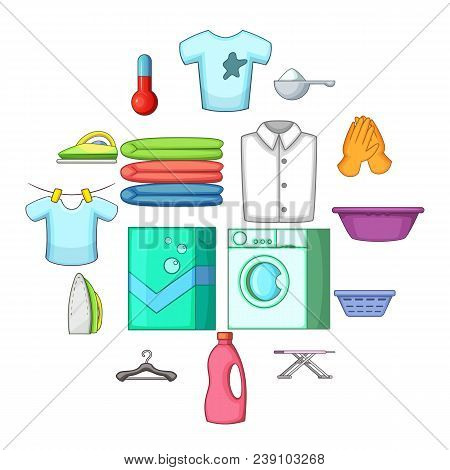 Laundry icons set. Cartoon illustration of 16 laundry vector icons for web stock photo