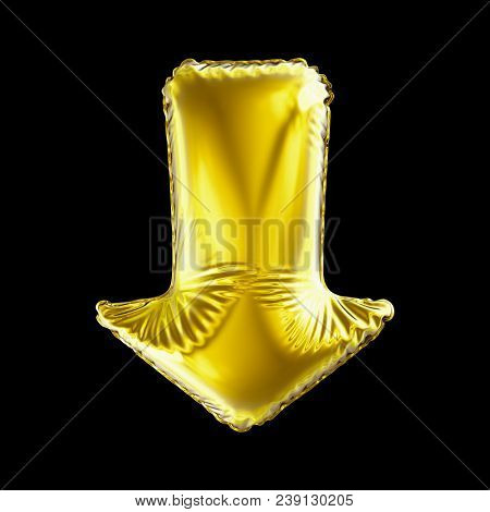 Golden arrow icon made of inflatable balloon isolated on black background. 3d rendering stock photo
