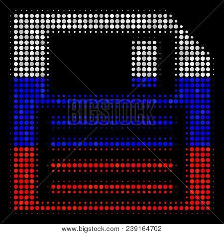 Halftone Floppy Disk icon colored in Russian official flag colors on a dark background. Vector collage of floppy disk icon constructed with round elements. stock photo