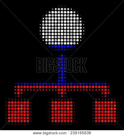 Halftone Hierarchy icon colored in Russia official flag colors on a dark background. Vector composition of hierarchy icon created from spheric elements. stock photo