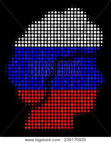 Halftone Woman Profile pictogram colored in Russian official flag colors on a dark background. Vector composition of woman profile icon made with circle blots. stock photo