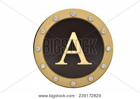 Golden and diamond framed with alphabet A on white background.3D illustration. stock photo