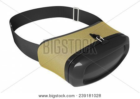 3D rendering half turn front view of concept design virtual reality goggles headset isolated on white background with clipping paths. stock photo