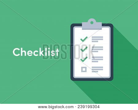 Checklist brief with check tick marks icons for checklist survey or opinion poll stock photo