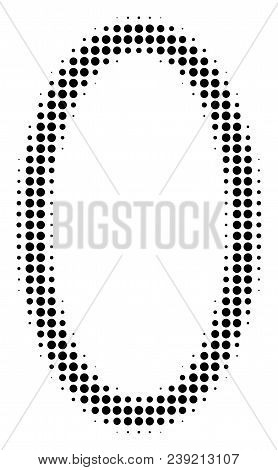 Dot black contour ellipse icon. Vector halftone mosaic of contour ellipse icon composed from round elements. stock photo