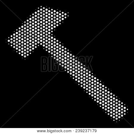 Dot white hammer icon on a black background. Vector halftone mosaic of hammer icon done of round points. stock photo