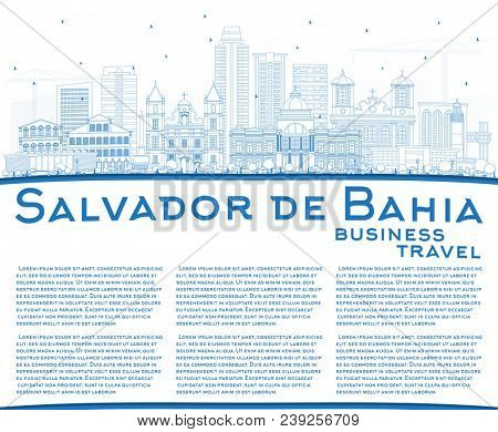 Outline Salvador de Bahia City Skyline with Blue Buildings and Copy Space. Travel and Tourism Concept with Historic Architecture. Salvador de Bahia Cityscape with Landmarks. stock photo