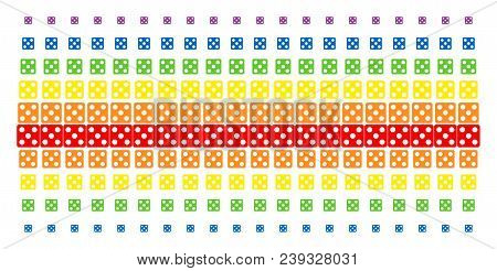 Dice icon spectrum halftone pattern. Vector items organized into halftone array with vertical spectrum gradient. Designed for backgrounds, covers, templates and abstract effects. stock photo