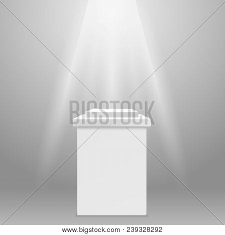 Empty pedestal - square exhibit podium in spotlight ray stock photo