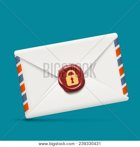 Envelope icon with wax seal and lock. Stock vector illustration. stock photo