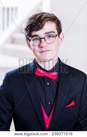 Teenager in tuxedo before his senior prom. stock photo