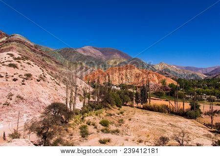 Cerro de los siete colores - Purmamarca in Jujuy Province - Argentina stock photo